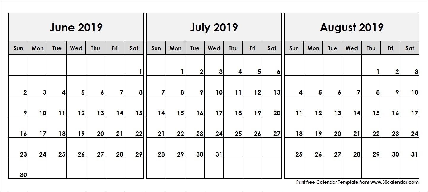 June July August 2019 Calendar | 3 Month Calendar Template-Blank Calendar June July August