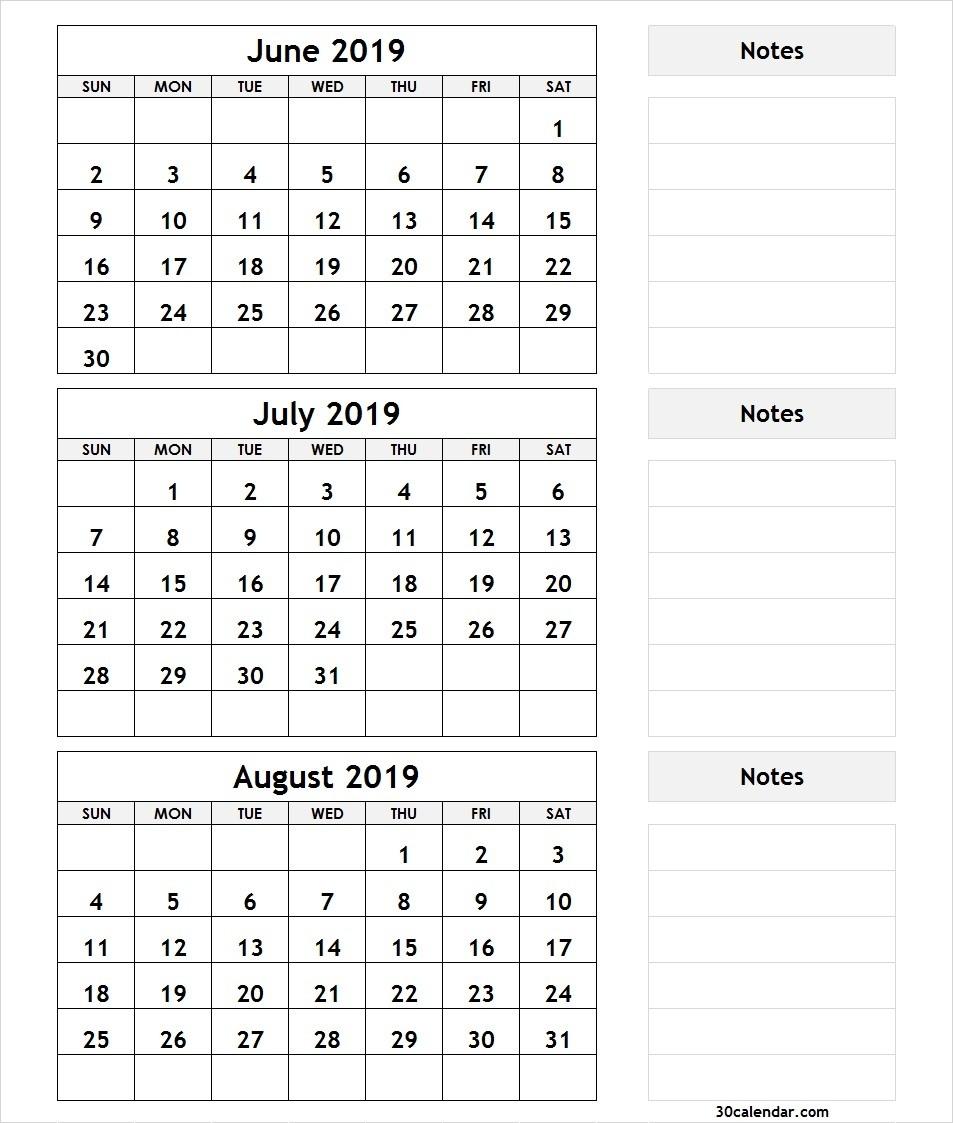 June July August 2019 Calendar | 3 Month Calendar Template-July To August Monthly Calendar