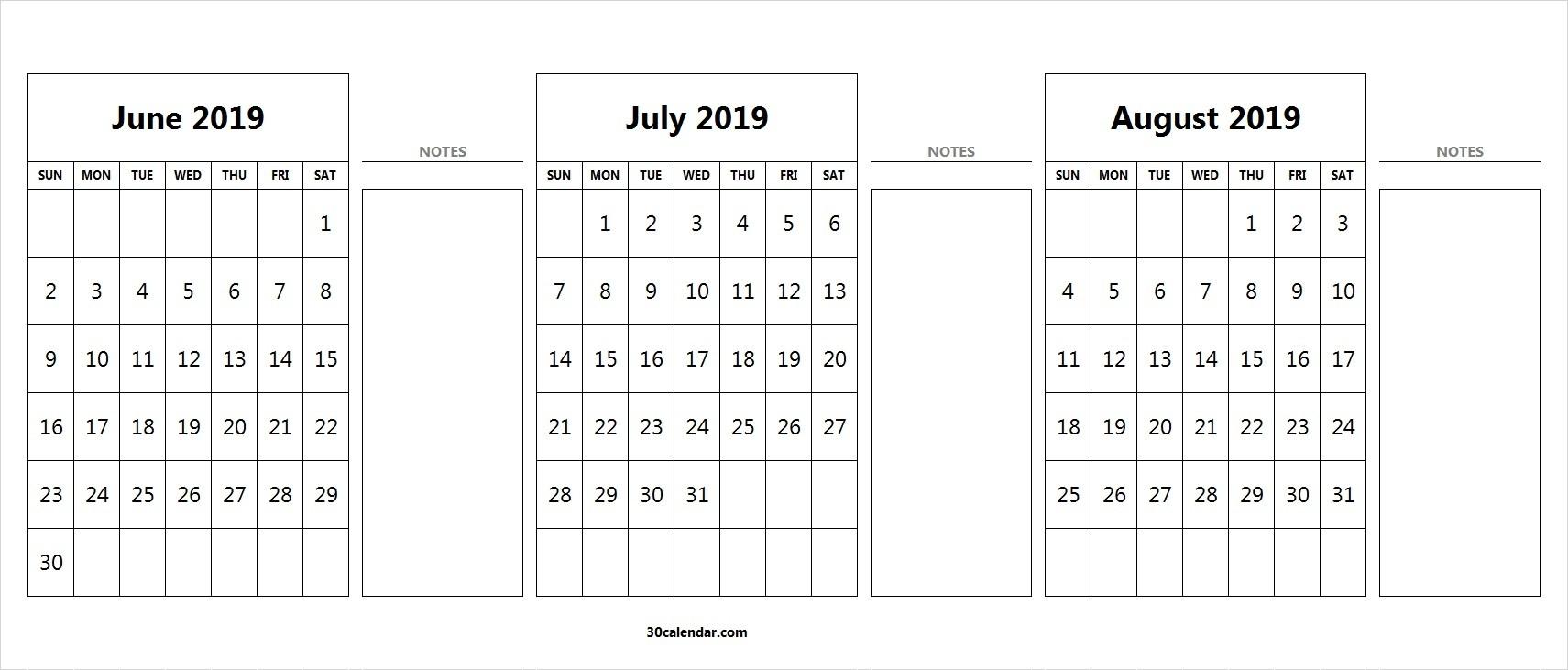 June July August Calendar 2019 | 3 Month Calendar Template-July To August Monthly Calendar