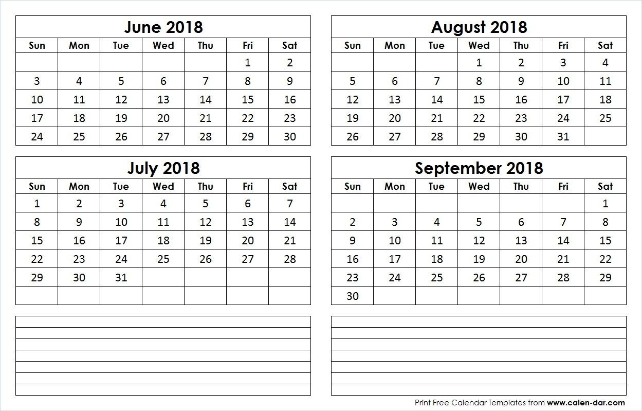 June July August September 4 Month 2018 Calendar | Calendar-4 Month Blank Calander