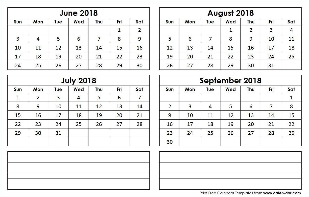 June July August September 4 Month 2018 Calendar | Calendar-4 Month Calendar Template