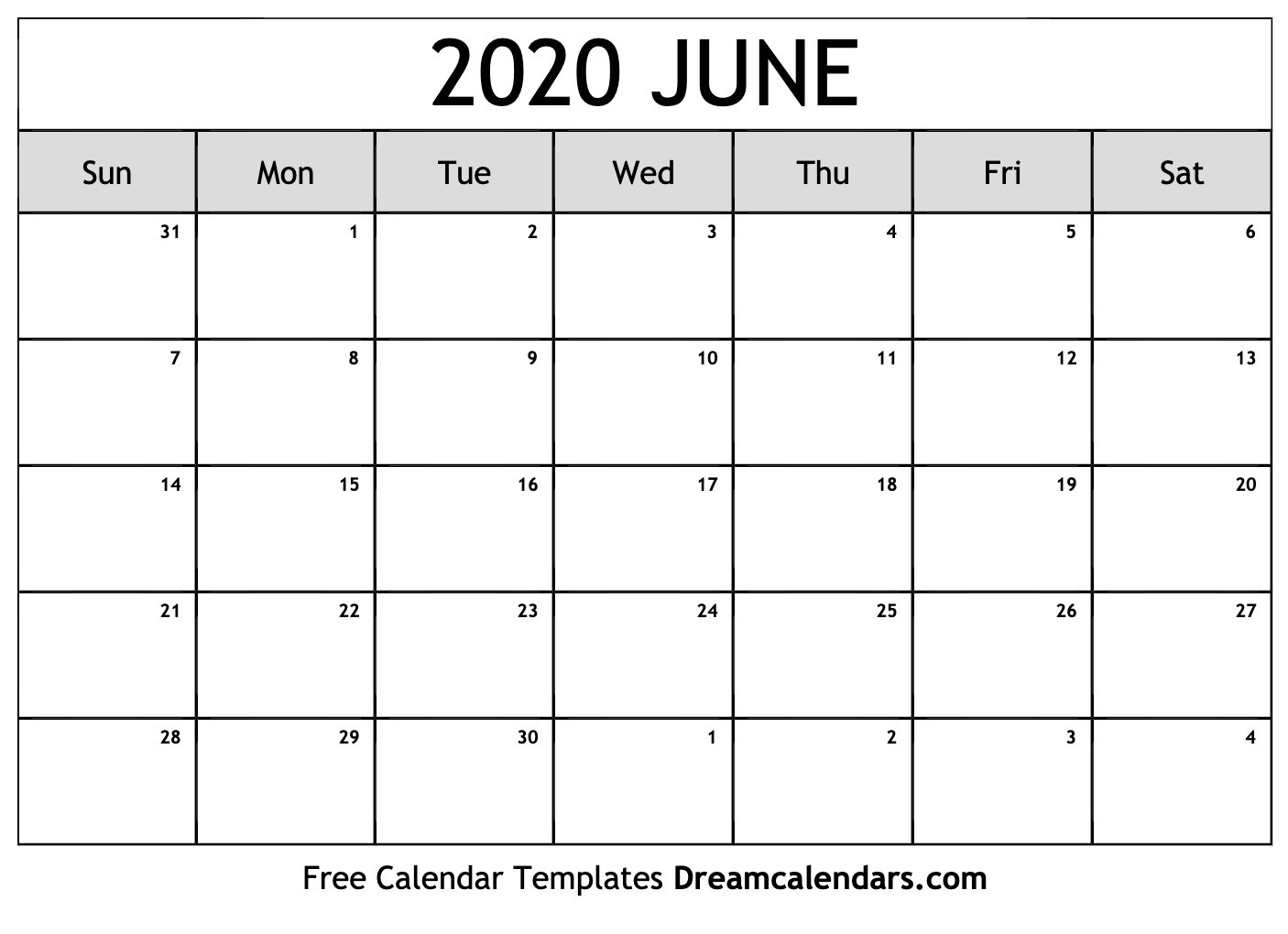 June Monthly Calendar 2020 - Wpa.wpart.co-Blank Calendar 2020 June July August