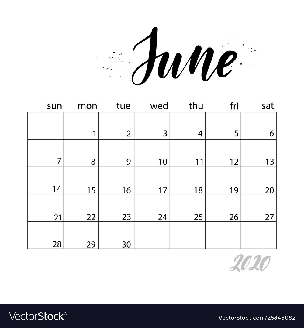 June Monthly Calendar For 2020 Year-Monthly June 2020 Calendar