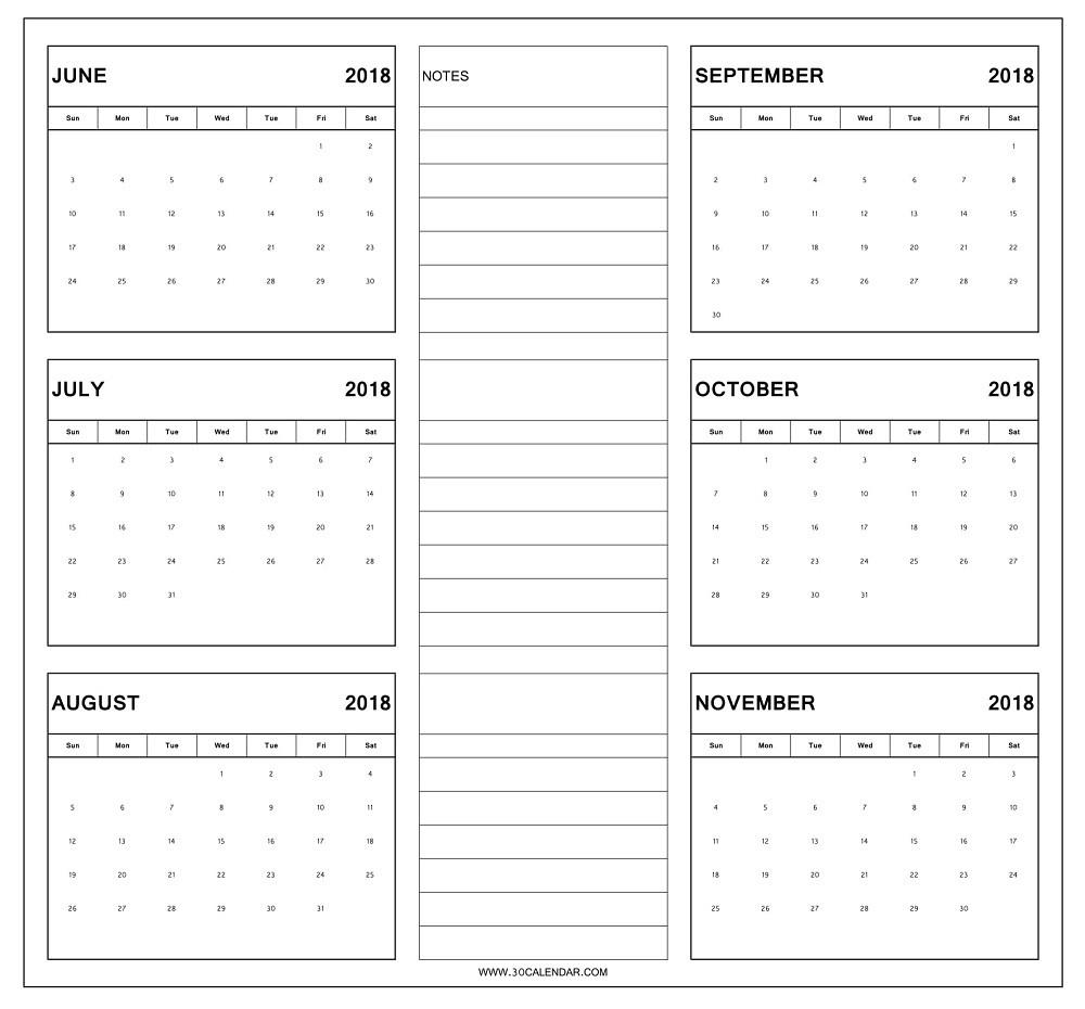 June To November 2018 Calendar Printable | 6 Month Calendar 2018-Blank Six Month Calendar Printable