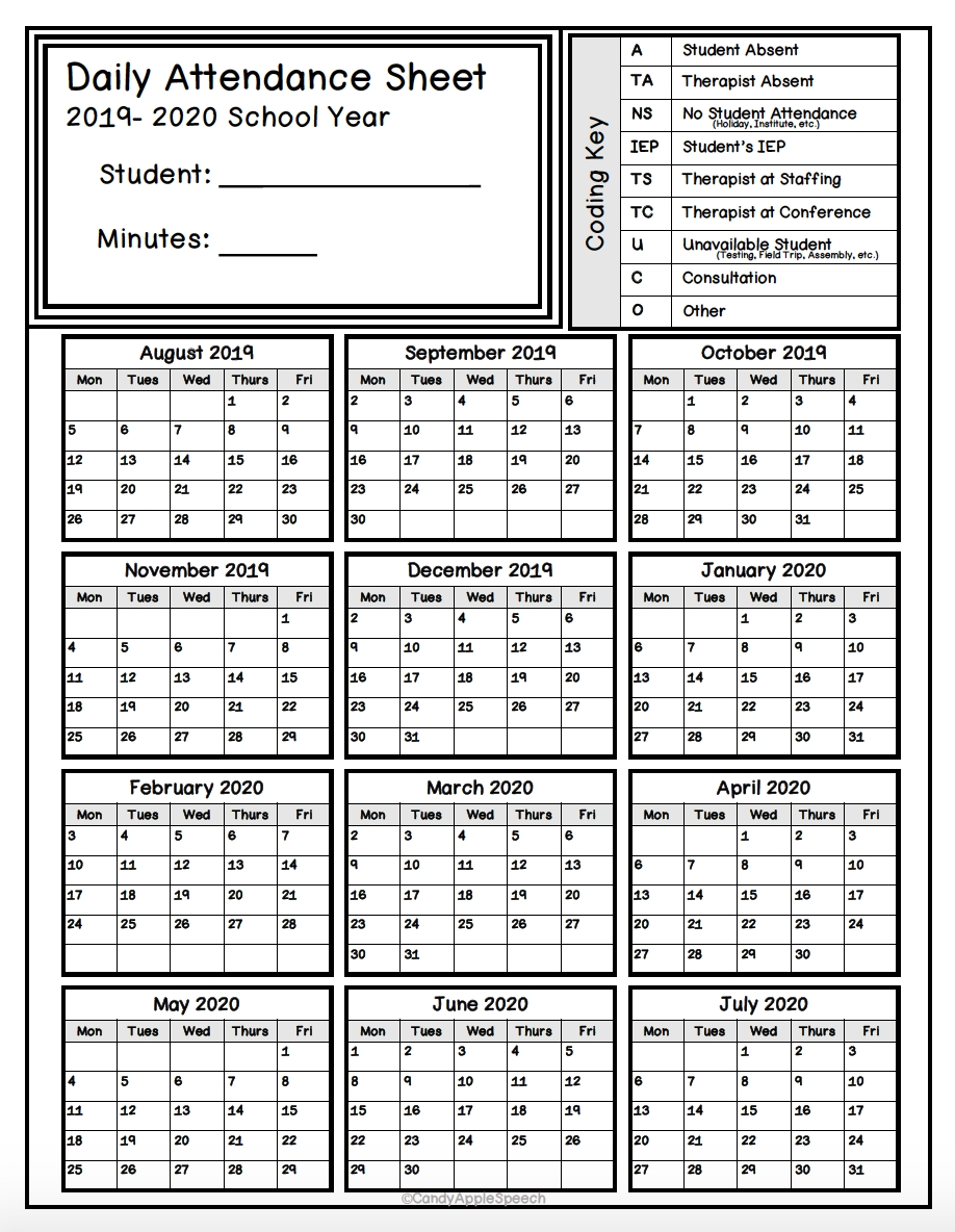 Keep Track Of Attendance With This Simple Form! | Attendance-Printable 2020 Attendance Calendar Template