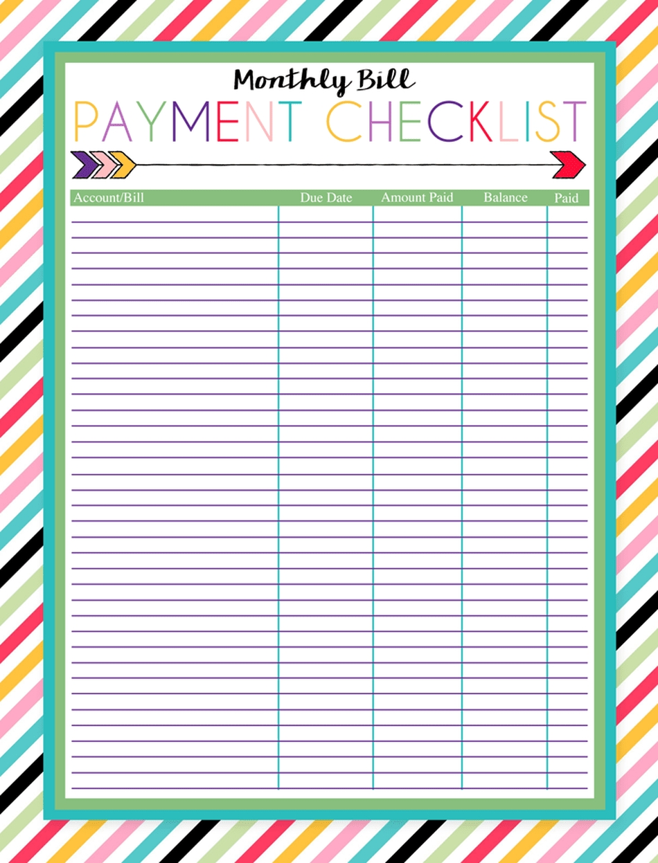 Keep Your Bill Due Dates Straight With These Free Calendar-Monthly Bill List Printable