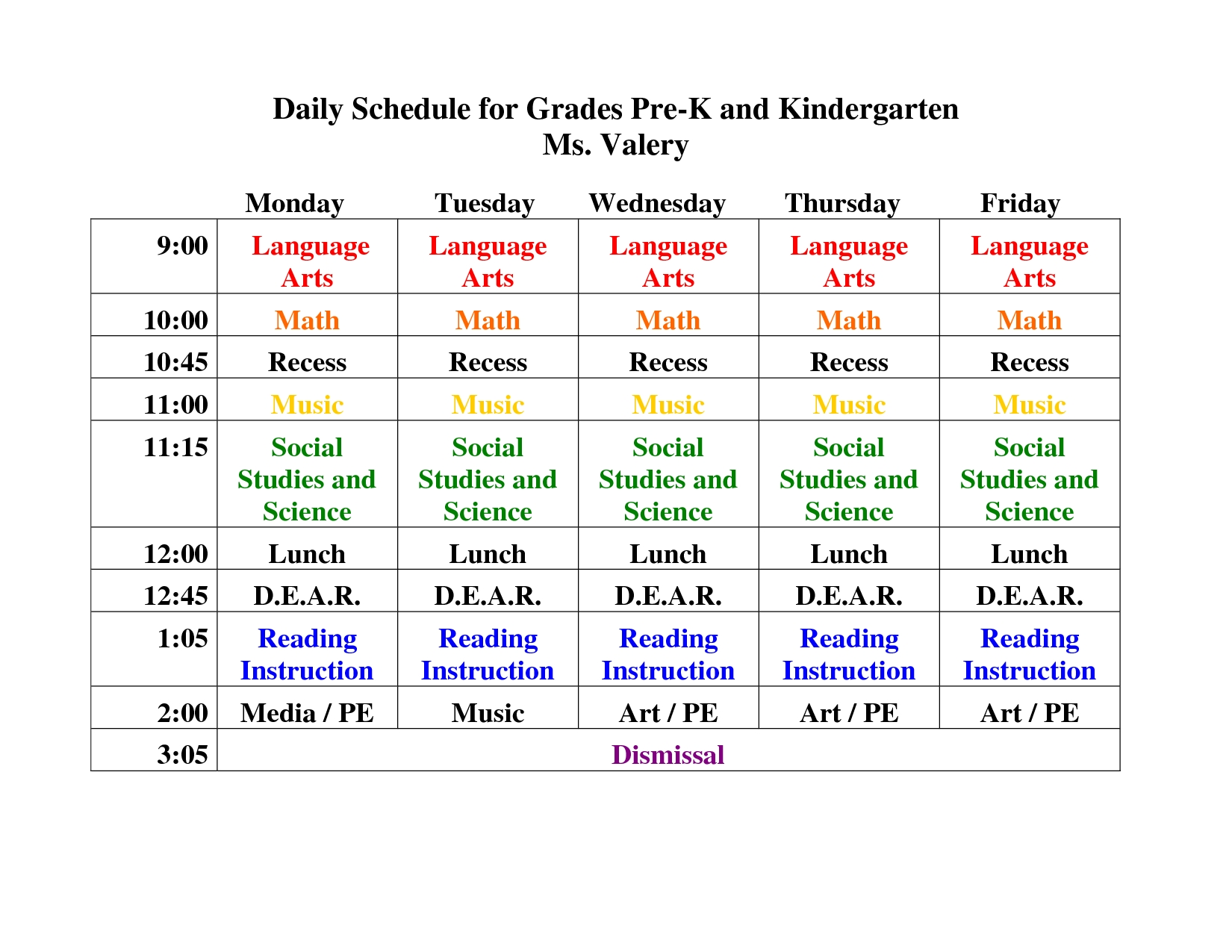 Kindergarten+Daily+Schedule+Template | Daily Schedule For-Blank Preschool Class Calendar