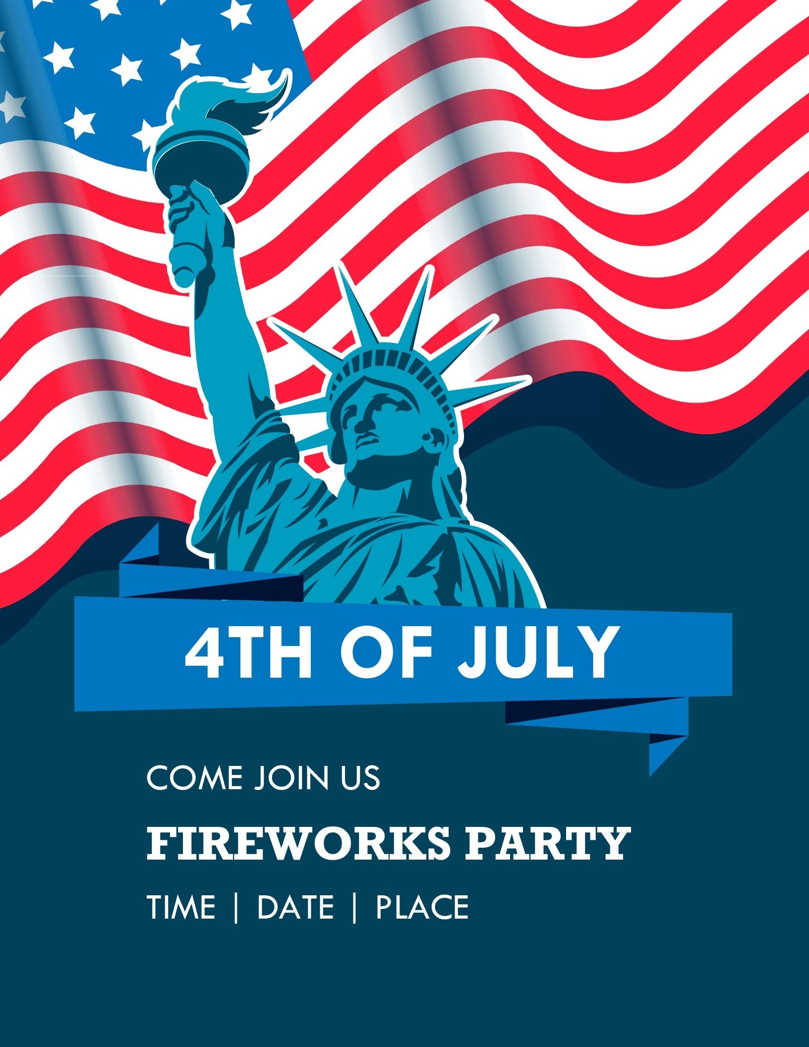 Lady Liberty Fourth Of July Flyer-July 4Th Closed Sign Template