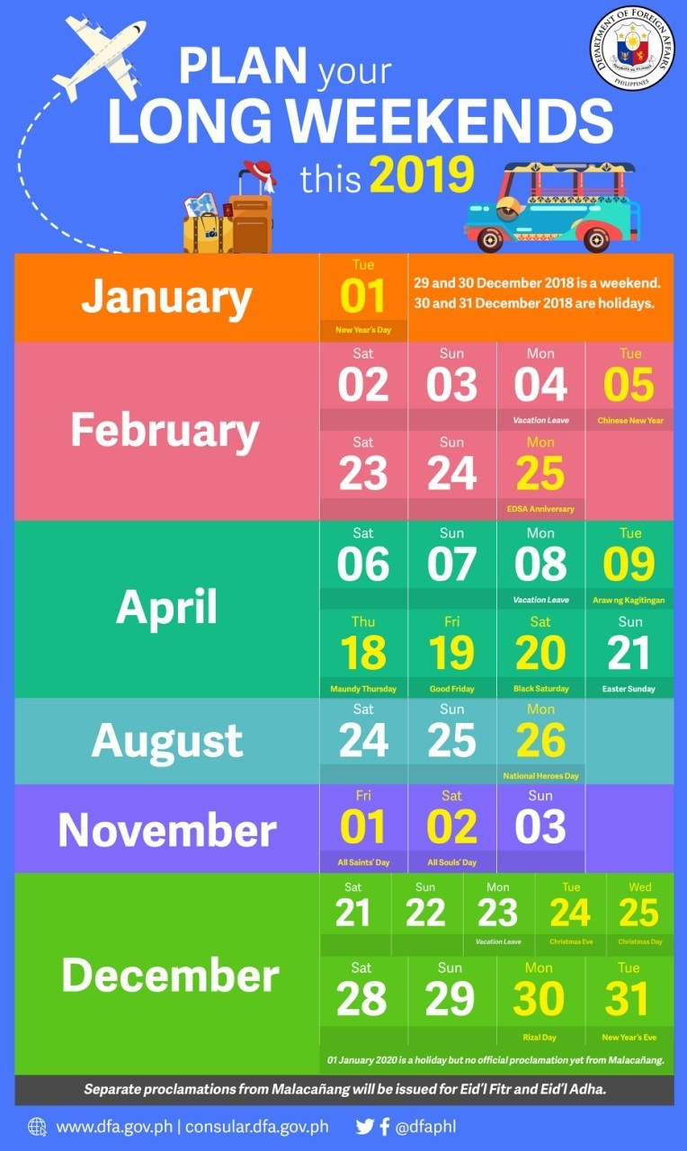 List: 2019 Holidays, Long Weekends In The Philippines   The-Holidays To The Philipines In March 2020