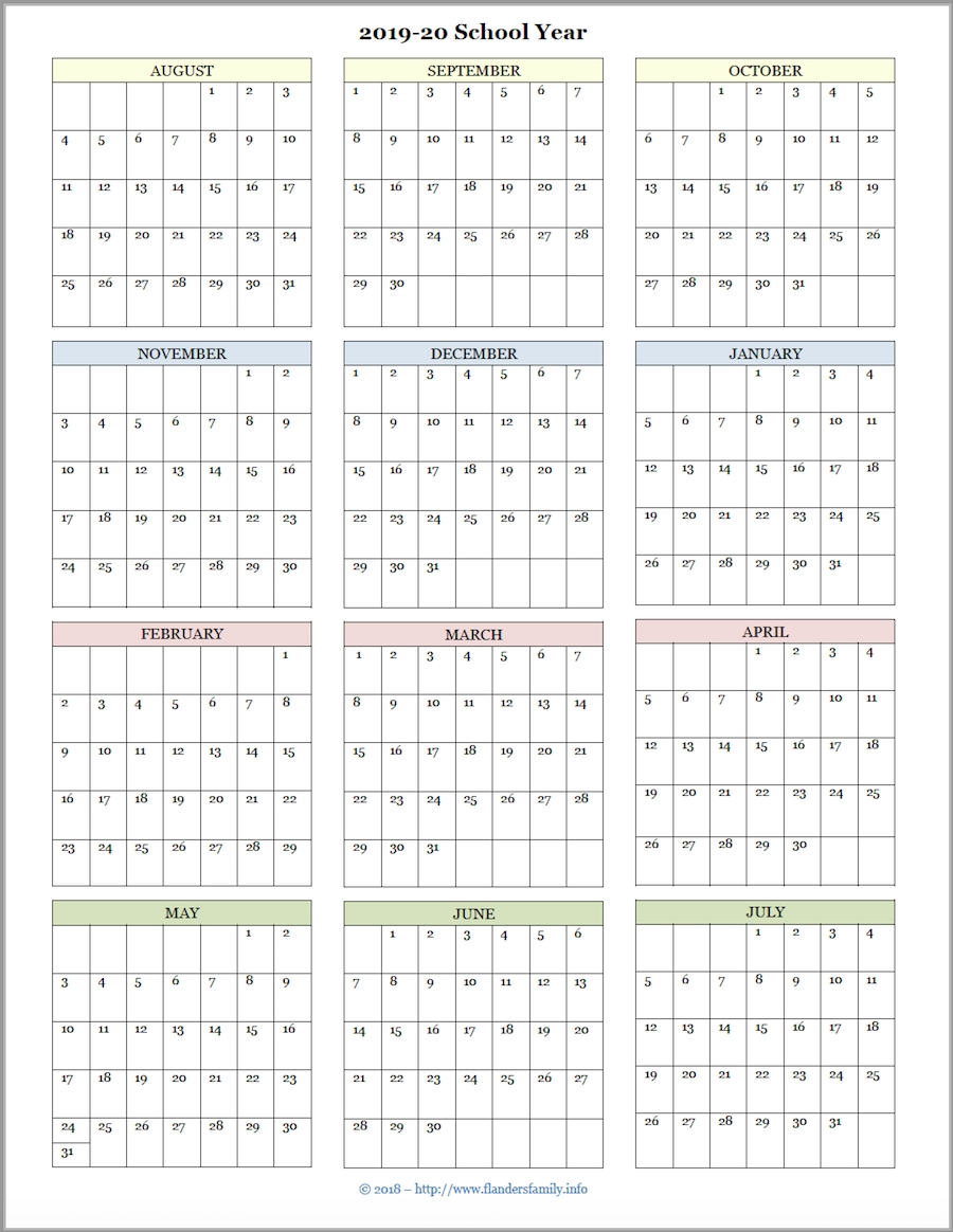 Mailbag Monday: More Academic Calendars (2019-2020-Print Blank Attendance Calendar 2020