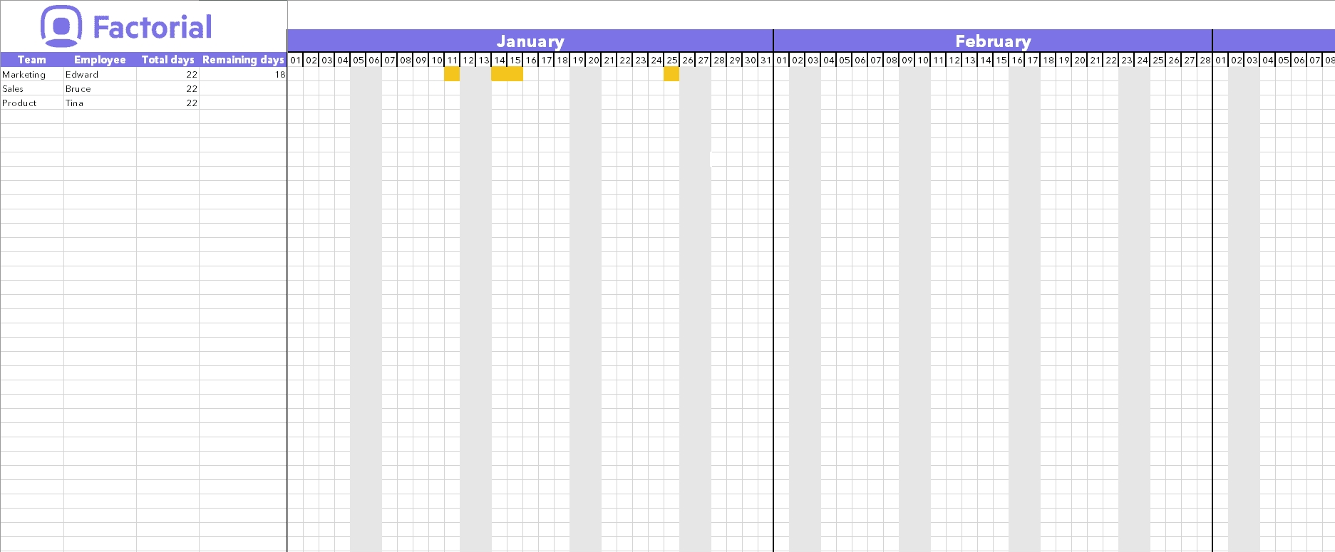 Manage Time Off Requests W/ Free Template | Factorial-Employee Vacation Calendar Template