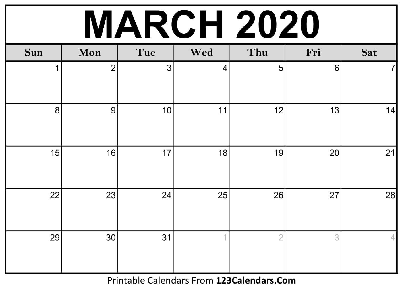 March 2020 Printable Calendar | 123Calendars-Blank 2020 Calendar Month By Month