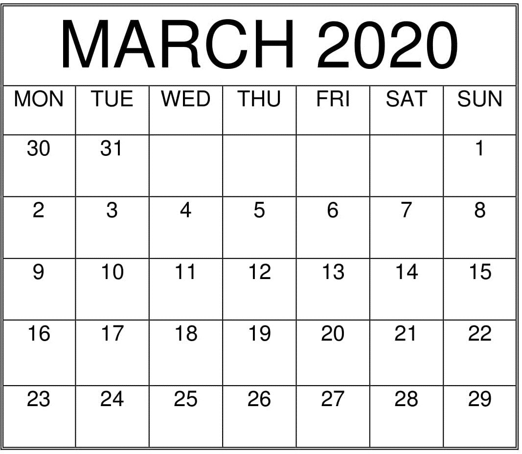March 2020 Printable Monthly Calendar – Free Latest Calendar-Printable Monthly Calendar 2020