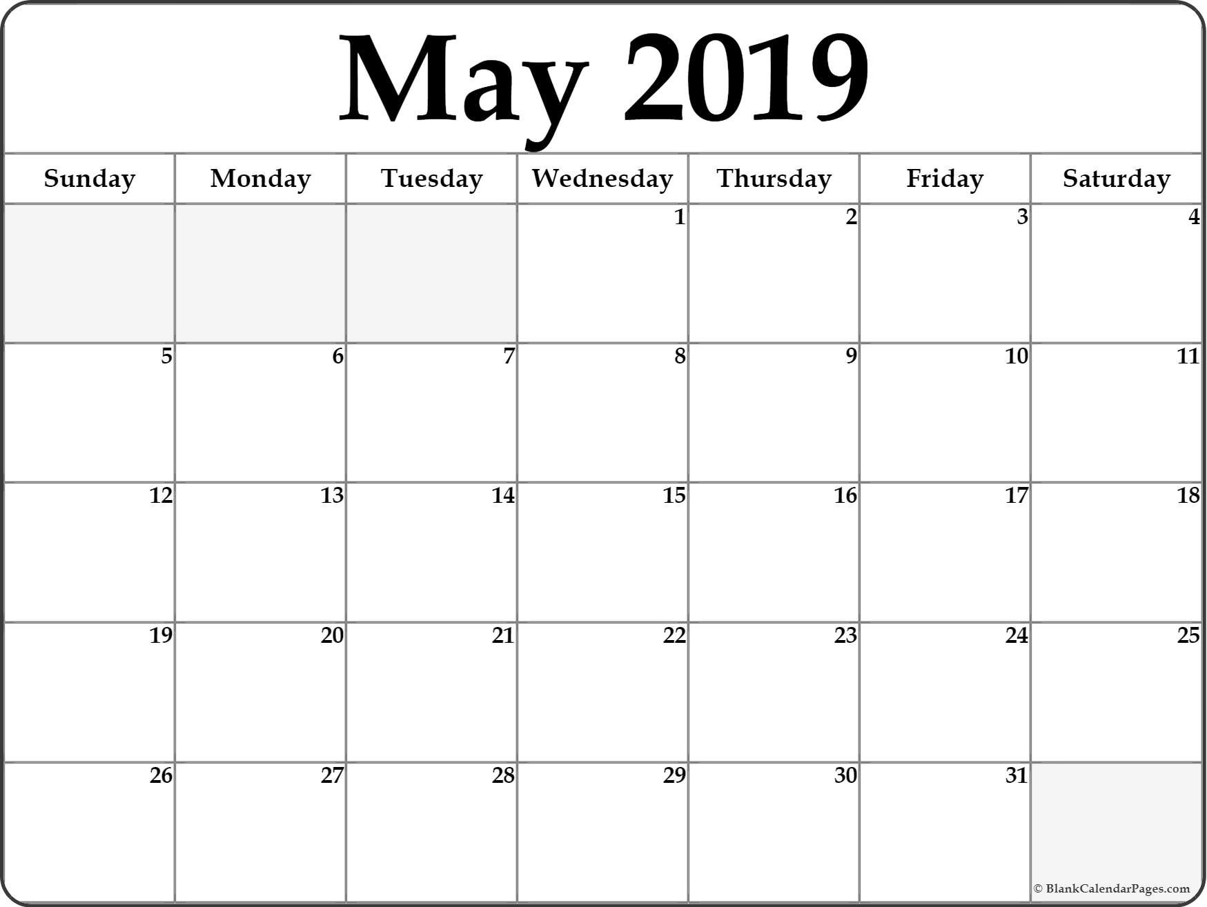 May 2019 Calendar | Free Printable Monthly Calendars-Month At A Glance Blank Calendar