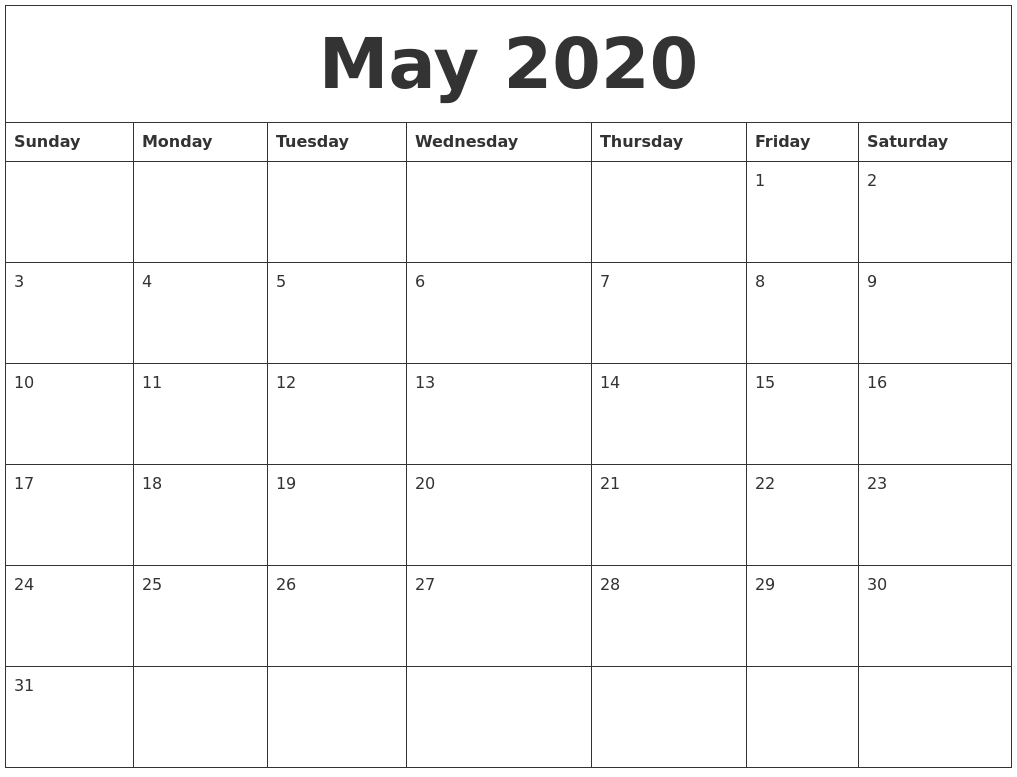 May 2020 Free Printable Monthly Calendar-Printable Monthly Calander Sheets