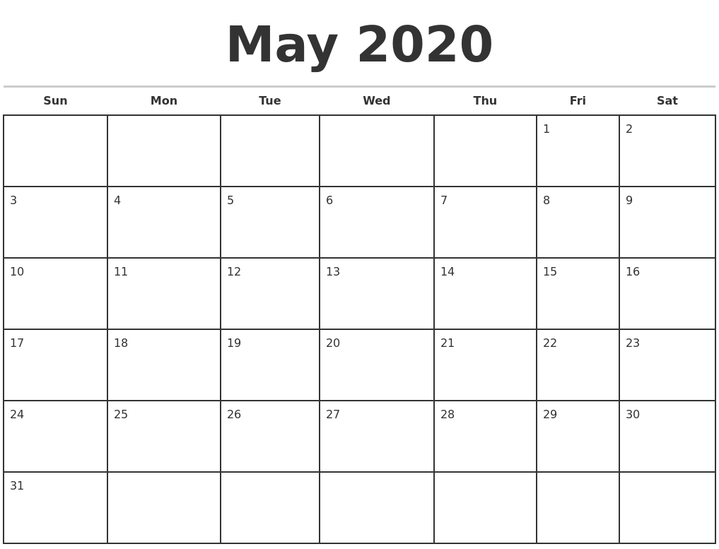 May 2020 Monthly Calendar Template-2020 Monthly Calendars Starting With Monday