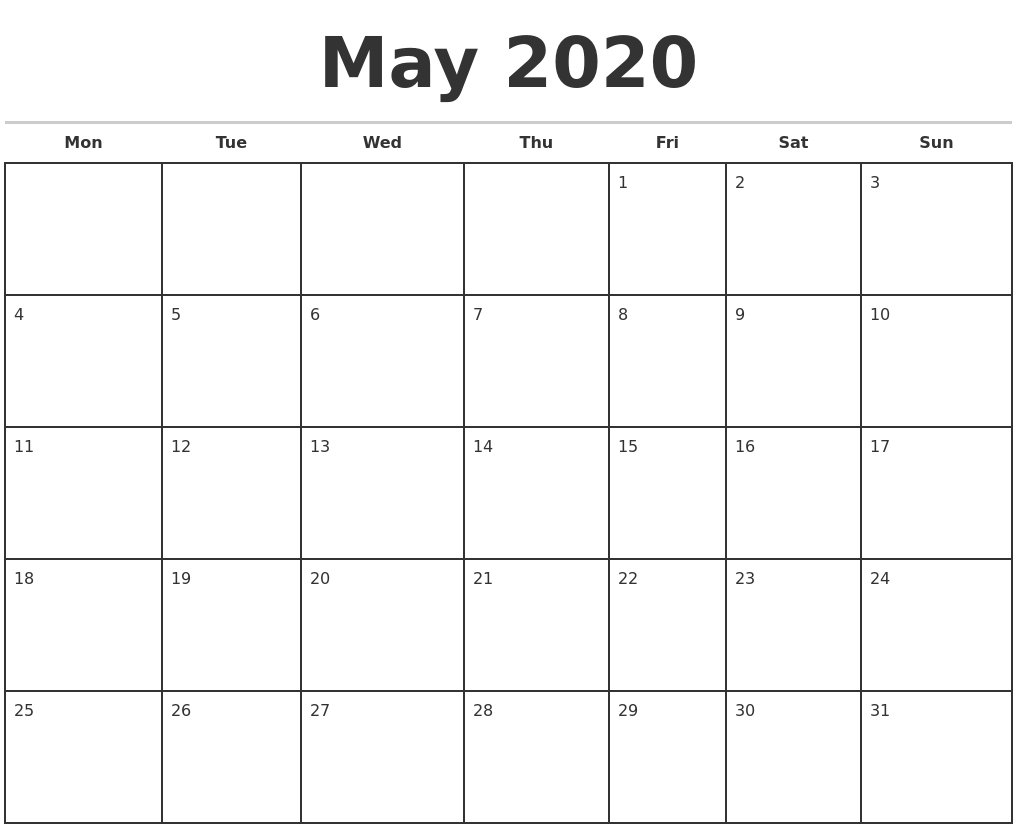 May 2020 Monthly Calendar Template-Monthly Calendar Start Monday