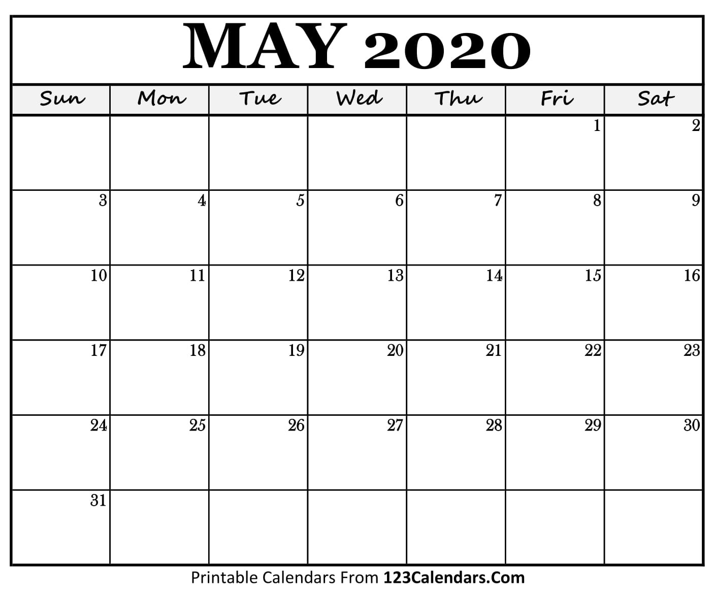 May 2020 Printable Calendar | 123Calendars-Summer Calendar Blank 2020