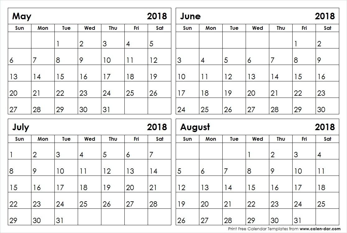May June July August 2018 Calendar Blank Printable Template-Blank 4 Month Calendar