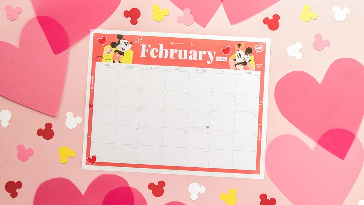 Mickey And Minnie February 2019 Printable Calendar | Disney-Disney Printable Calendar 2020 Monthly