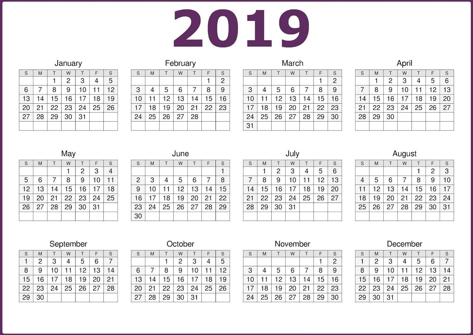 Microsoft Calendar Template 2019 | Calendar 2019 Template-Free Printable Blank Single Page Month Calendar