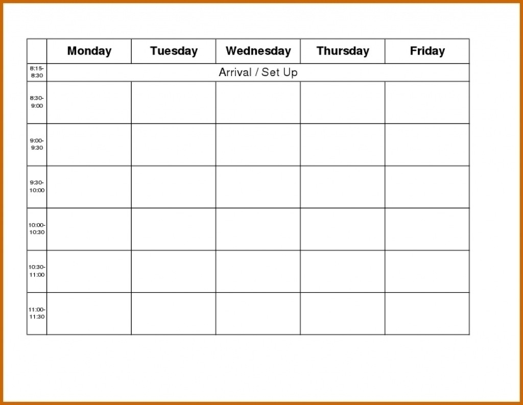 Monday To Friday Schedule Printable - Calendar Inspiration-Monday Through Friday Schedule Template