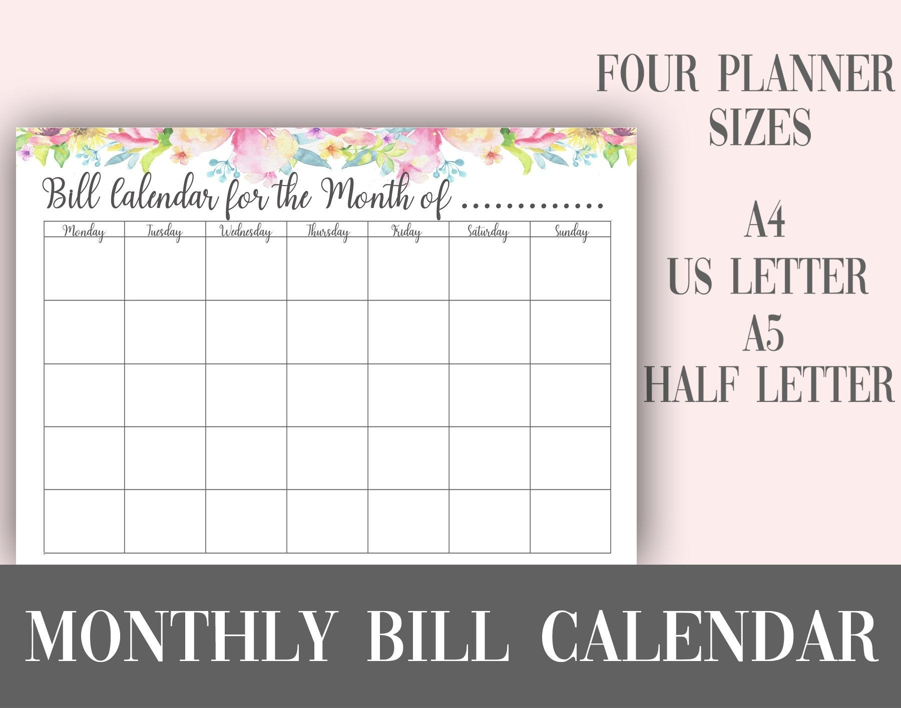 Monthly Bill Calendar Planner Page Printable | A4 Us Letter A5 Half Size |  Planner Insert | Instant Download | Planner Printable-Monthly Bill Calendar Printable