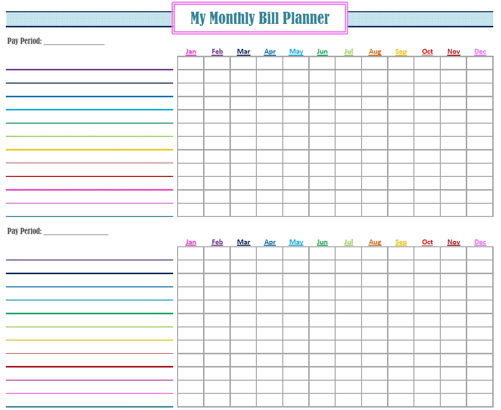 Monthly Bill Planner - Wpa.wpart.co-Free Printable Monthly Bills Chart