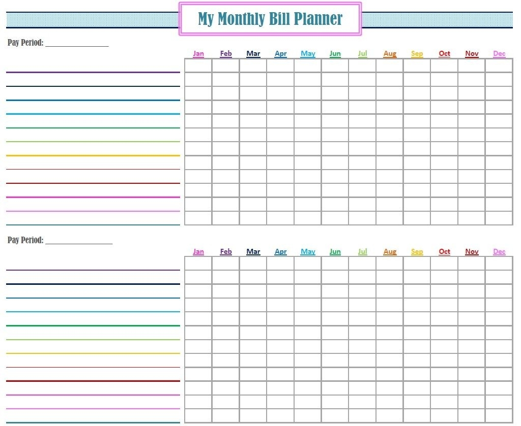 Monthly Bill Tracker Template Free - Wpa.wpart.co-Monthly Bill List Printable