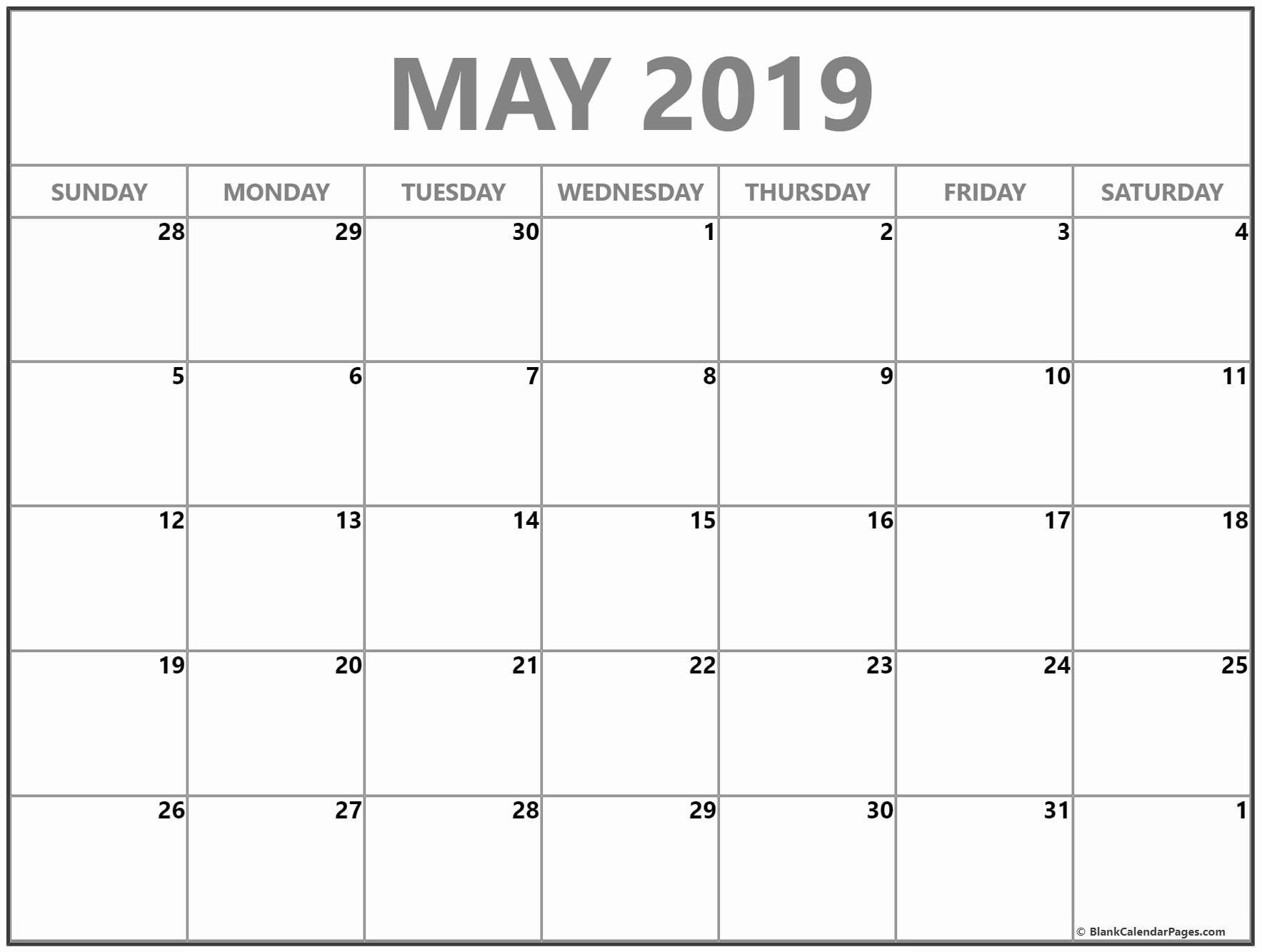 Monthly Blank Calendar May 2019 | Monthly Calendar Template-Calendar Templates By Vertex
