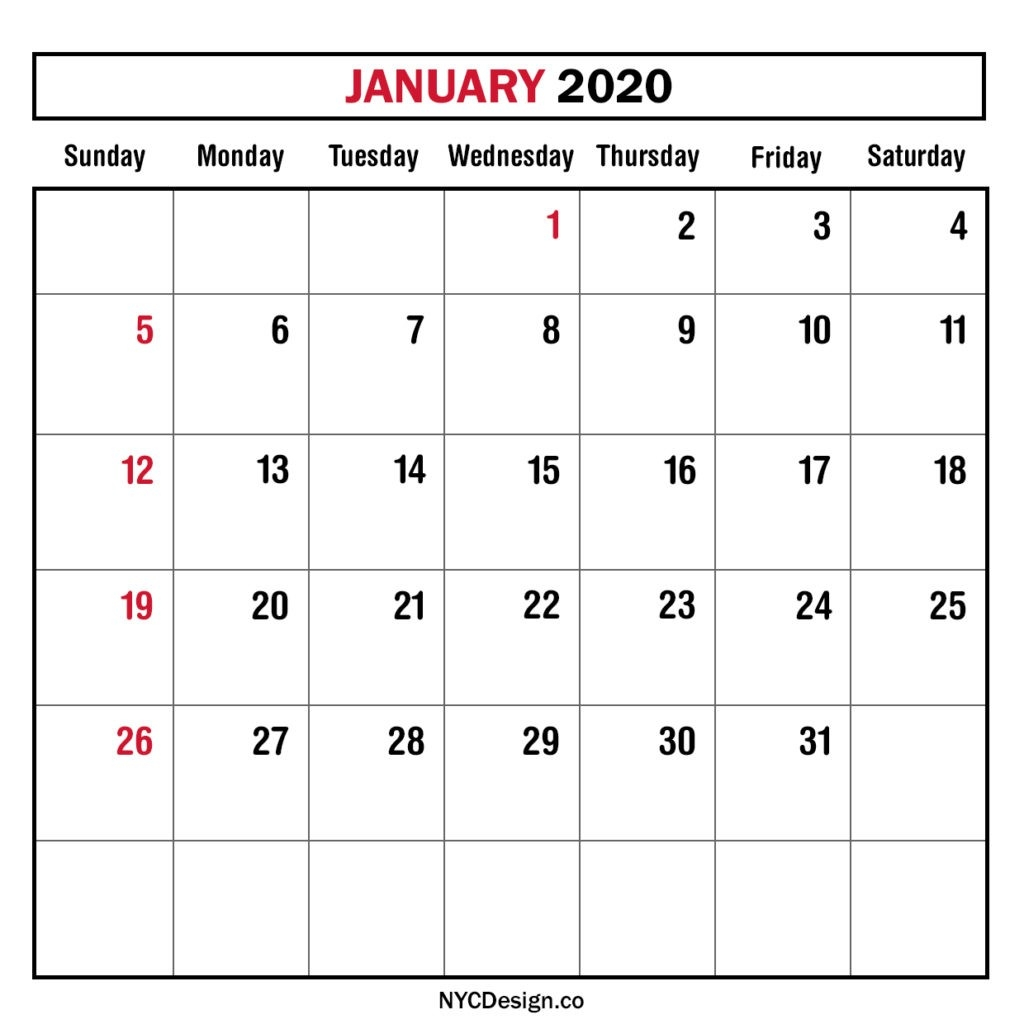 Monthly Calendar January 2020, Monthly Planner, Printable-2020 Monthly Calendars Starting With Monday