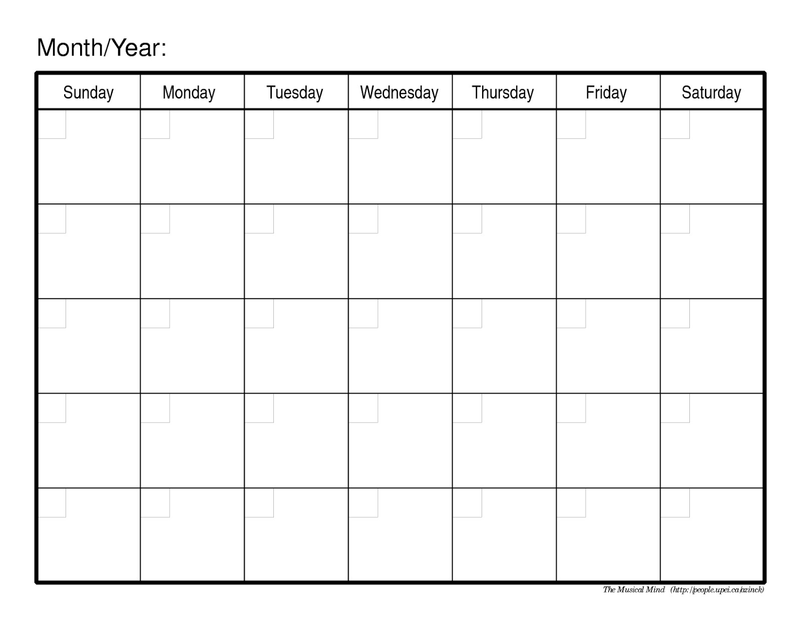 Monthly Calendar No Dates – Printable Month Calendar-Blank Calendar No Dates
