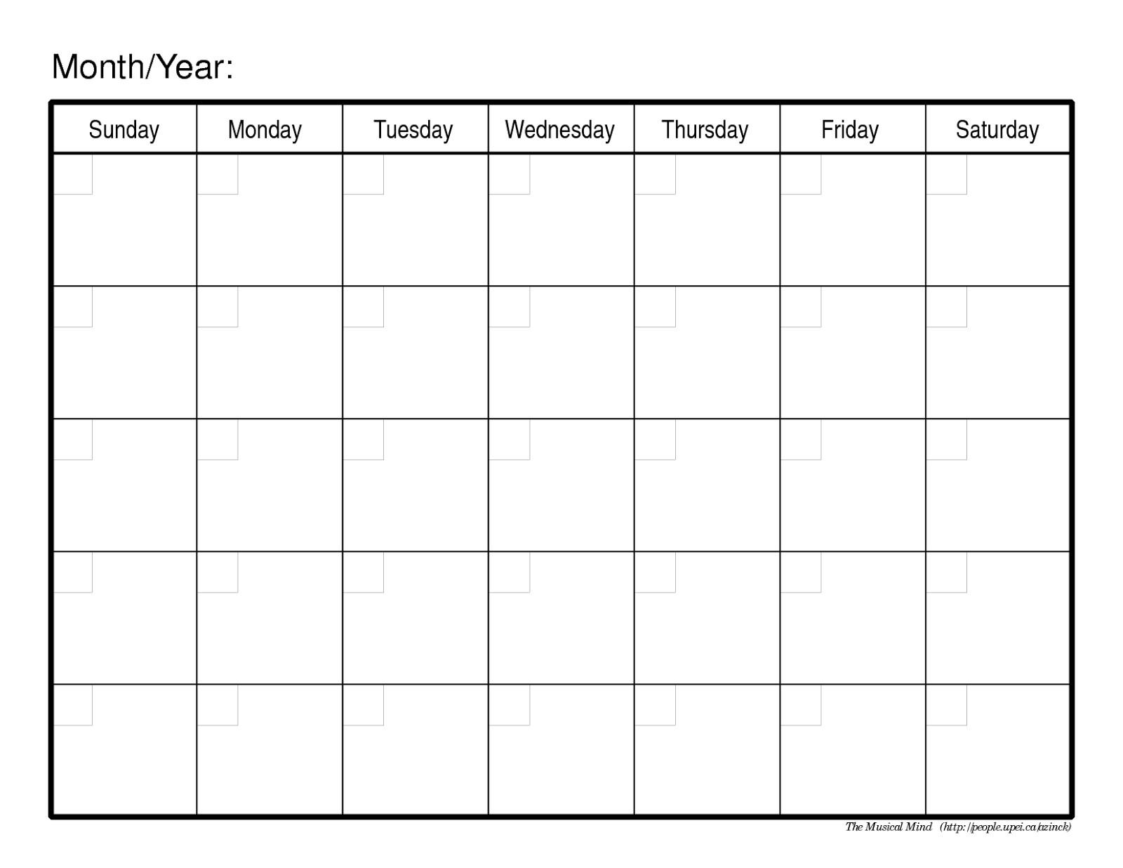 Blank Calendar No Dates | Calendar Template Printable