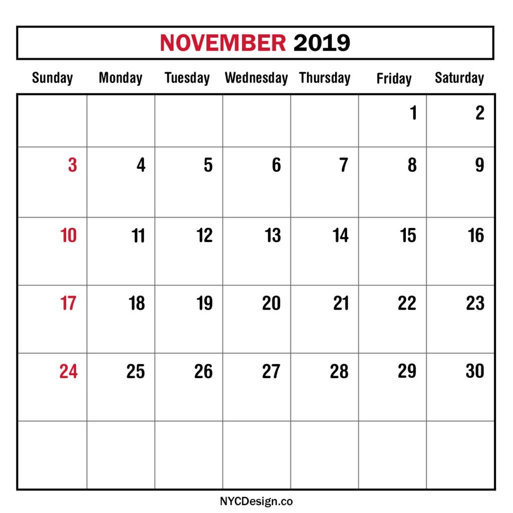 Monthly Calendar November 2019, Monthly Planner, Printable-Monday To Sunday Monthly Planners