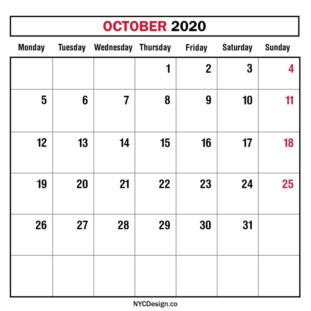 Monthly Calendar October 2020, Monthly Planner, Printable-2020 Monthly Calendars Starting With Monday