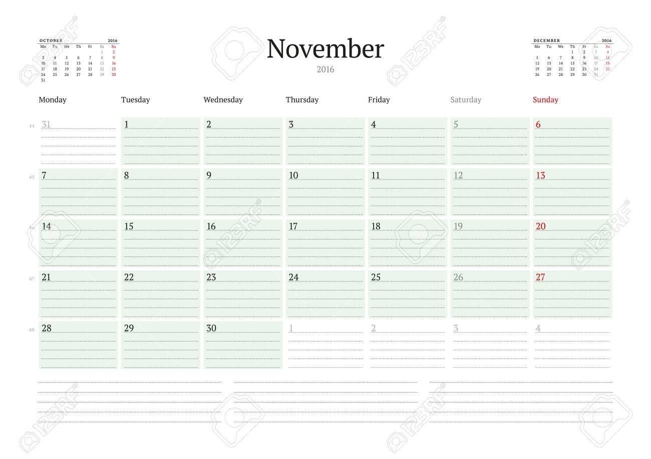 Monthly Calendar Planner 2016. Vector Print Template. November-Monthly Calendar Start Monday
