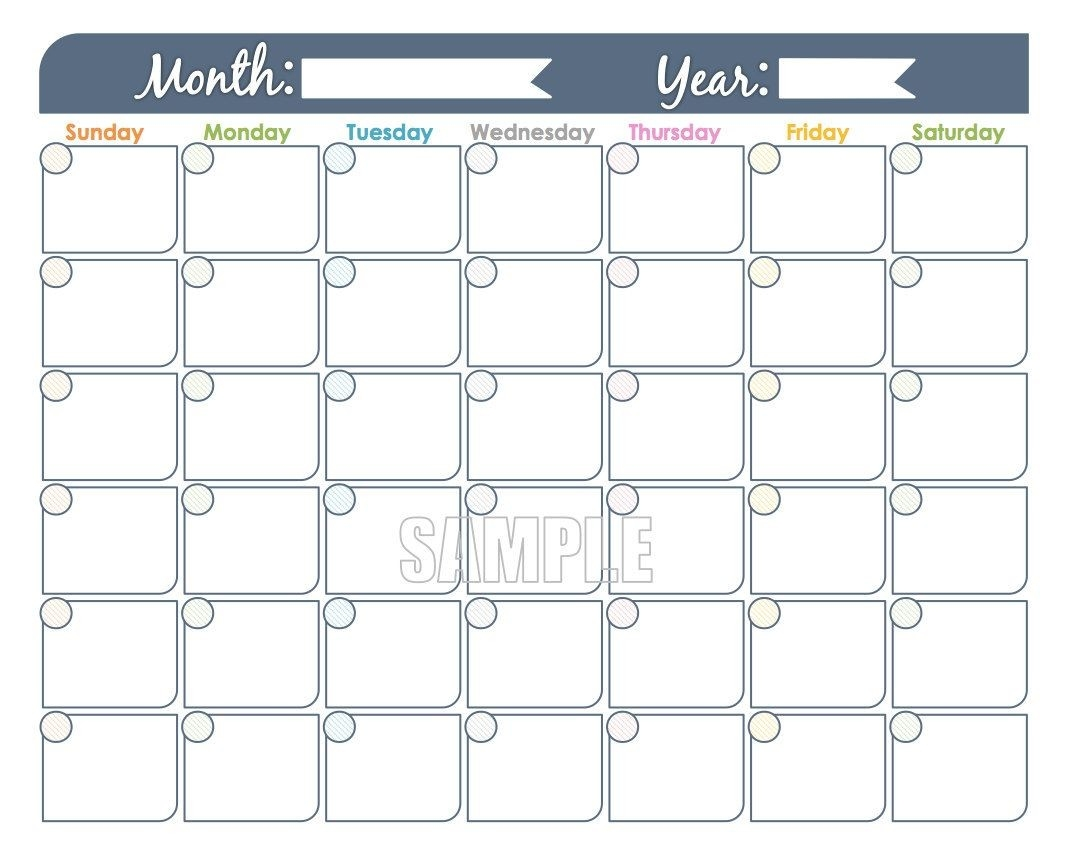 Monthly Calendar Printable - Undated, Fillable, Family-Blank Printable Monthly Calendar With No Dates