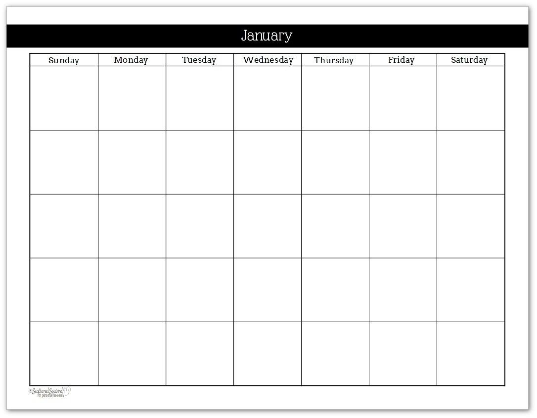 Monthly Calendar Template No Dates | Monthly Printable Calender-Blank Calendar No Dates