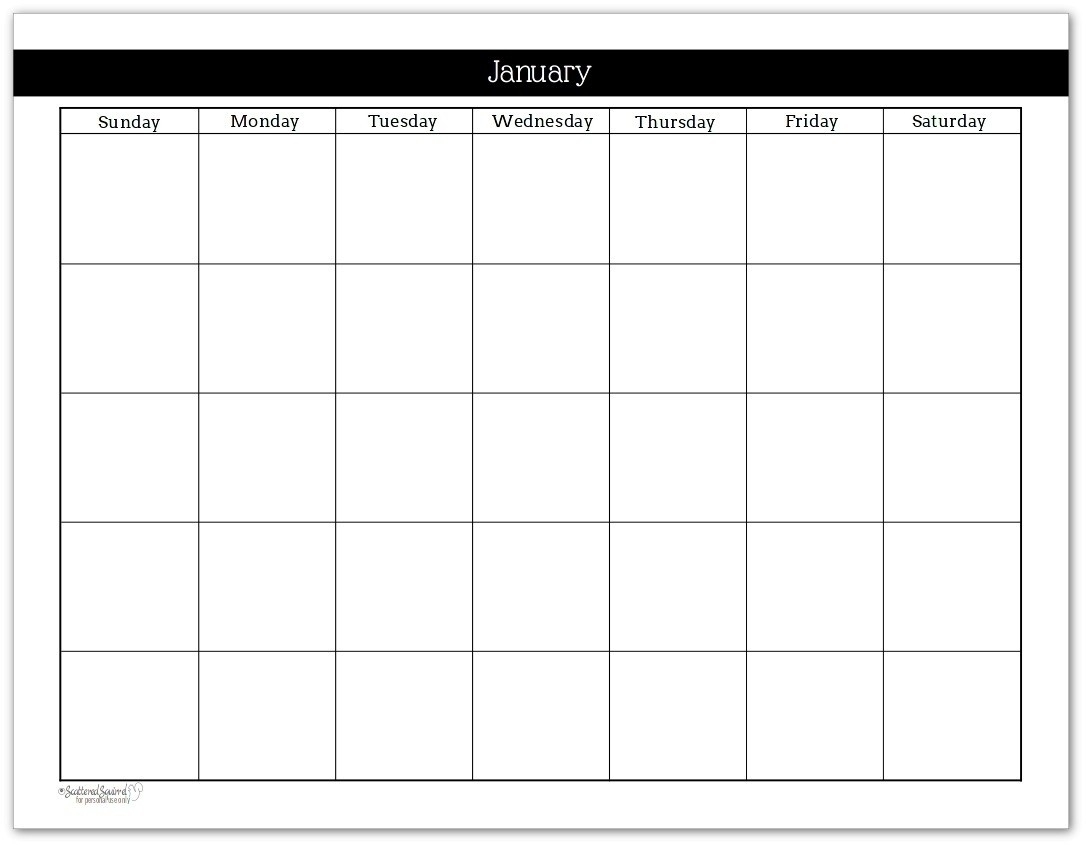 Monthly Calendar Template No Dates | Monthly Printable Calender-Monthly Calendar With No Dates