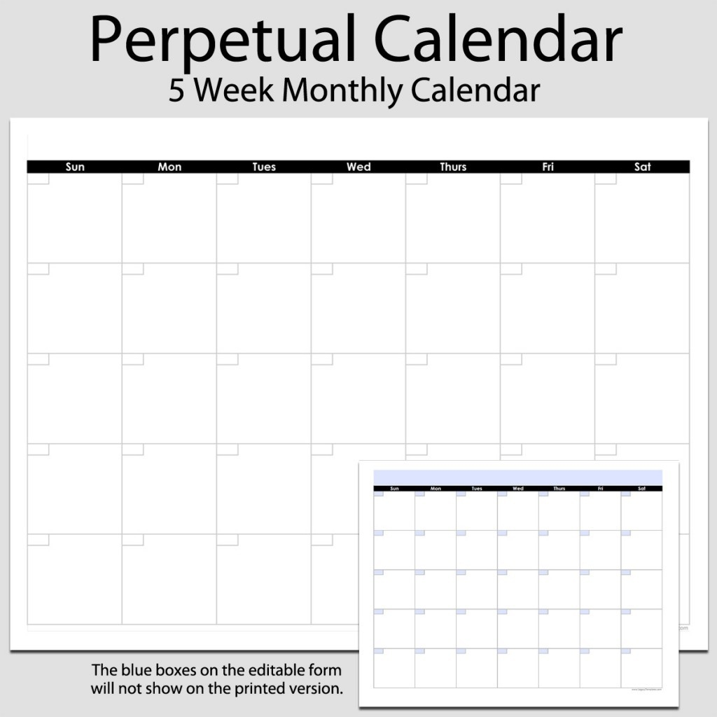 Monthly Perpetual Calendar In Landscape – 8 1/2″ X 11-Blank Monthly Calendar Printable 8.5 X 11