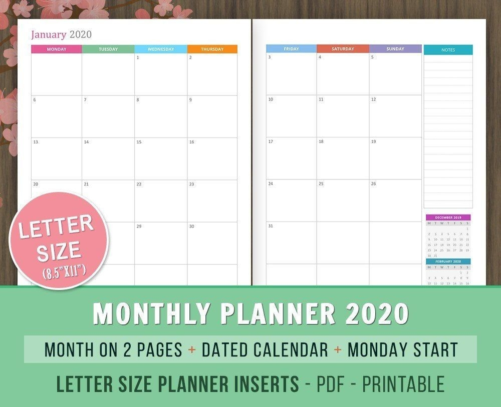 Monthly #planner 2020 #inserts, Month On 2 #pages, Dated-2020 2 Page Monthly Calendar Printable Pdf