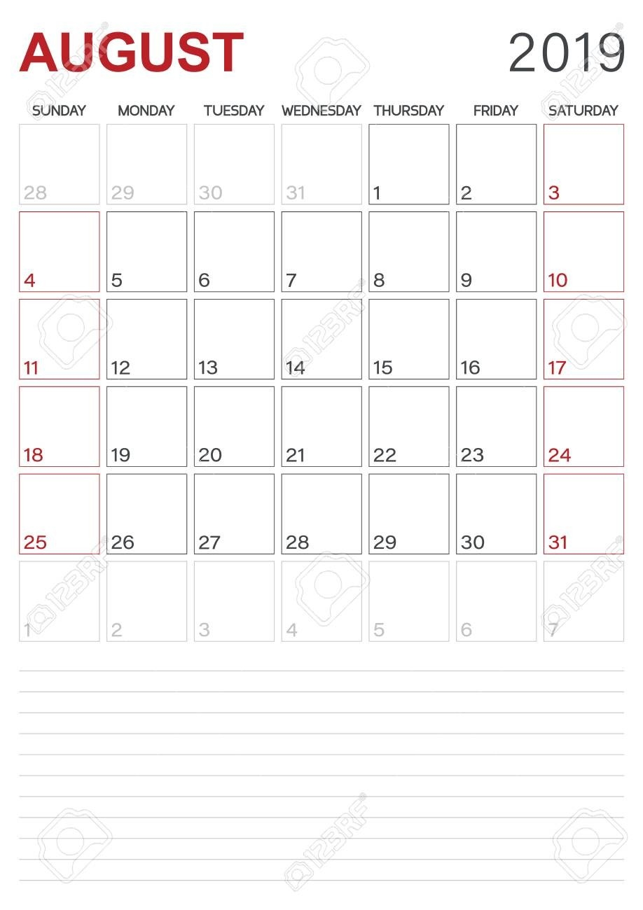 Monthly Planner Calendar August 2019, Week Starts On Sunday,..-Blank Monthly Planner Starts On Monday