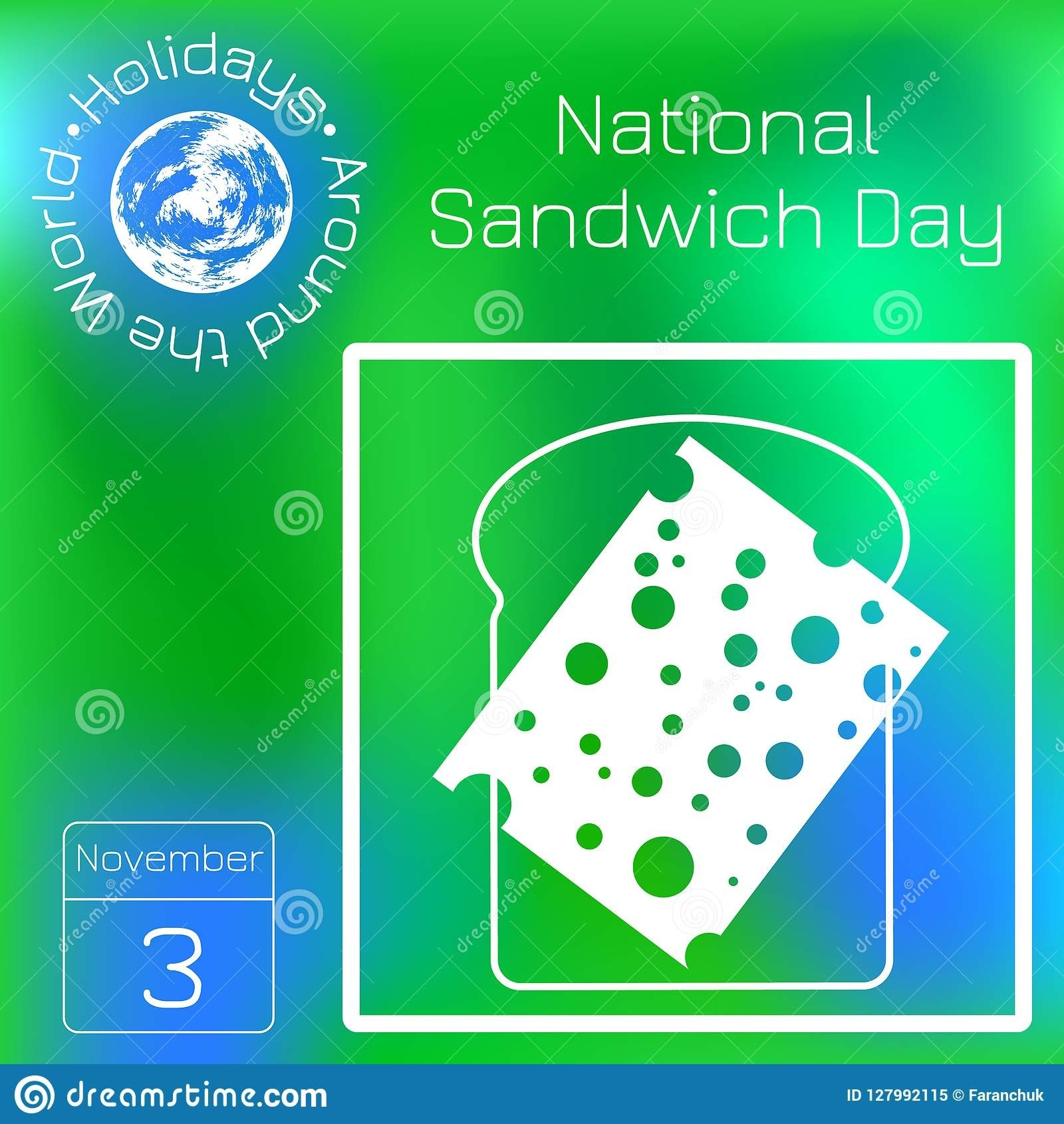 National Sandwich Day. 3 November. Food Holiday In The-National Food Holidays Calendar Download