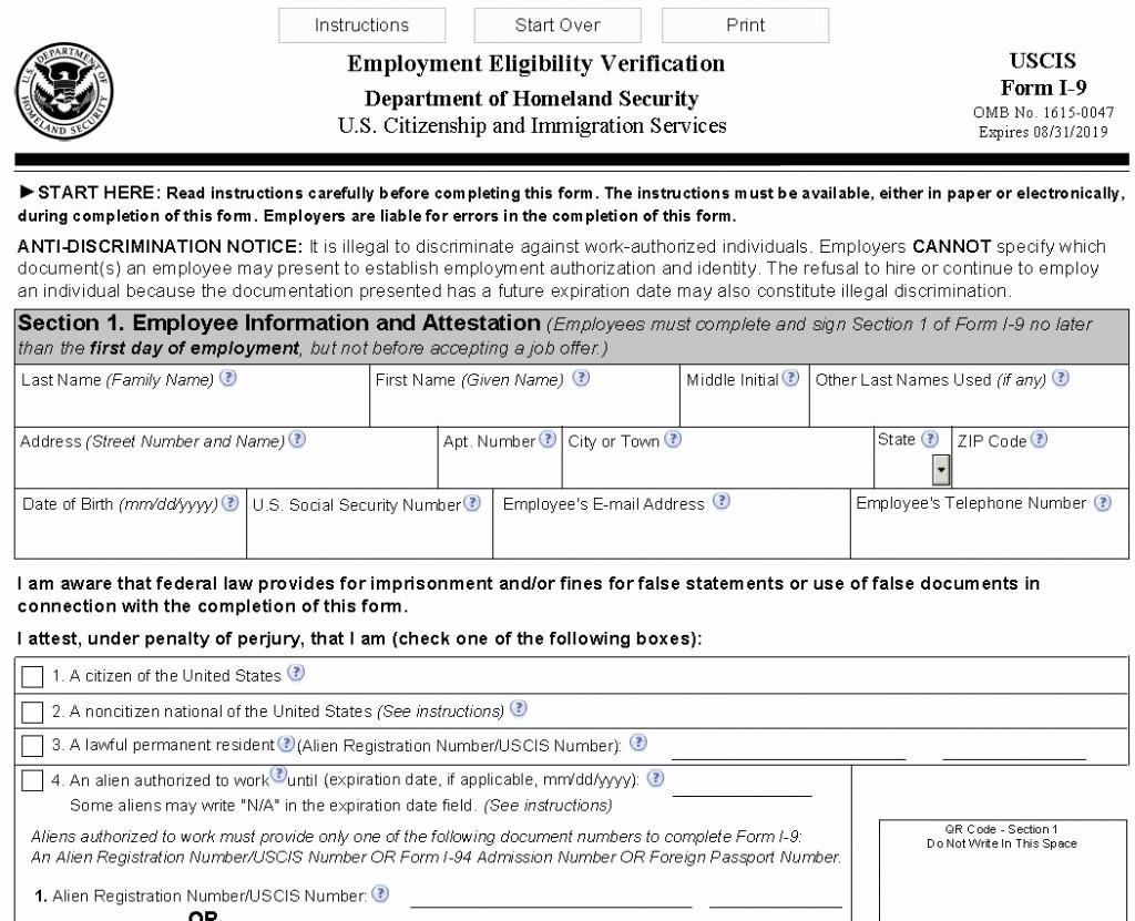 New I9 Forms 2020 Printable | Example Calendar Printable-Blank I-9 Form Printable 2020