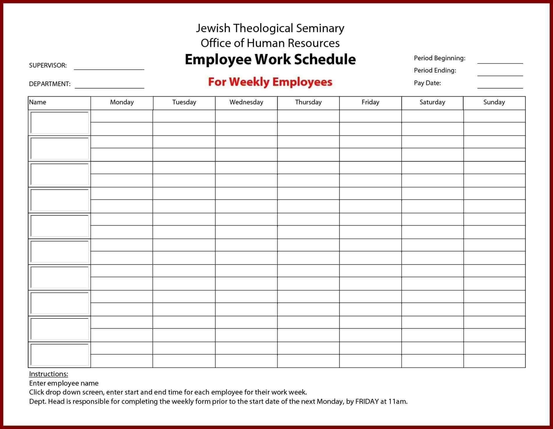 New Timesheet With Breaks #xls #xlsformat #xlstemplates-Monthly Work Schedule Template Printable
