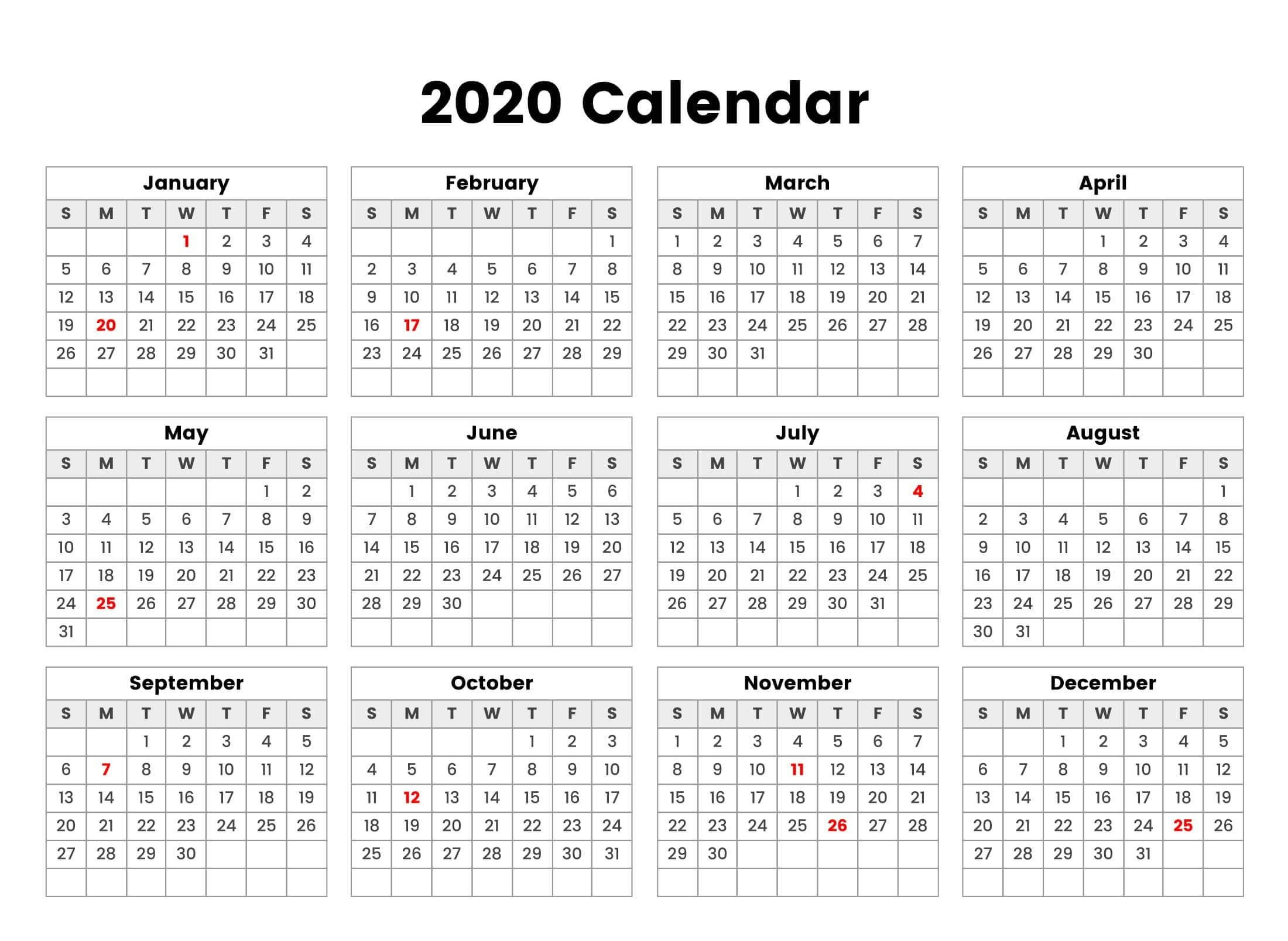 New Year Cute Calendar 2020 Holidays - 2019 Calendars For-Blank Qld Calendar 2020