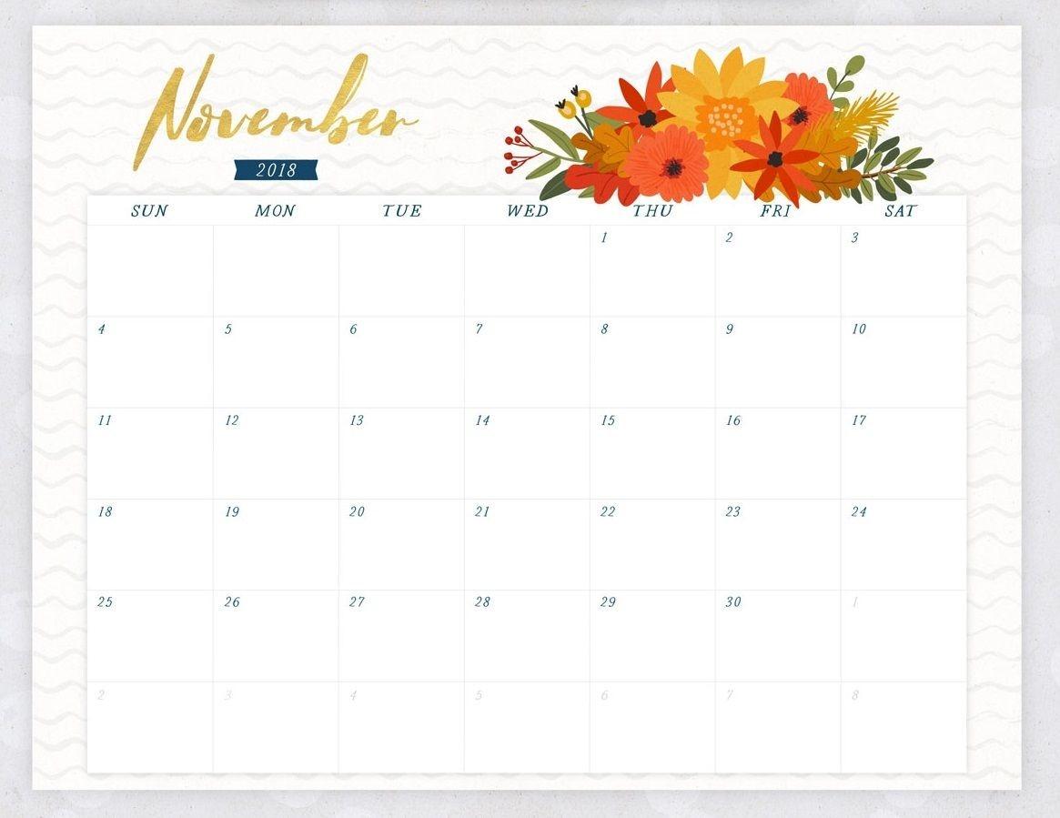 November 2018 Flower Calendar | November Printable Calendar-Template For Calendars With Flowers