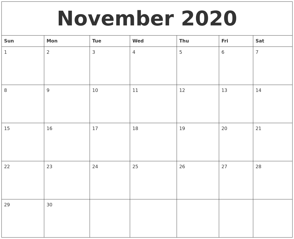 November 2020 Monthly Calendar To Print-2020 Monthly Calendars Starting With Monday