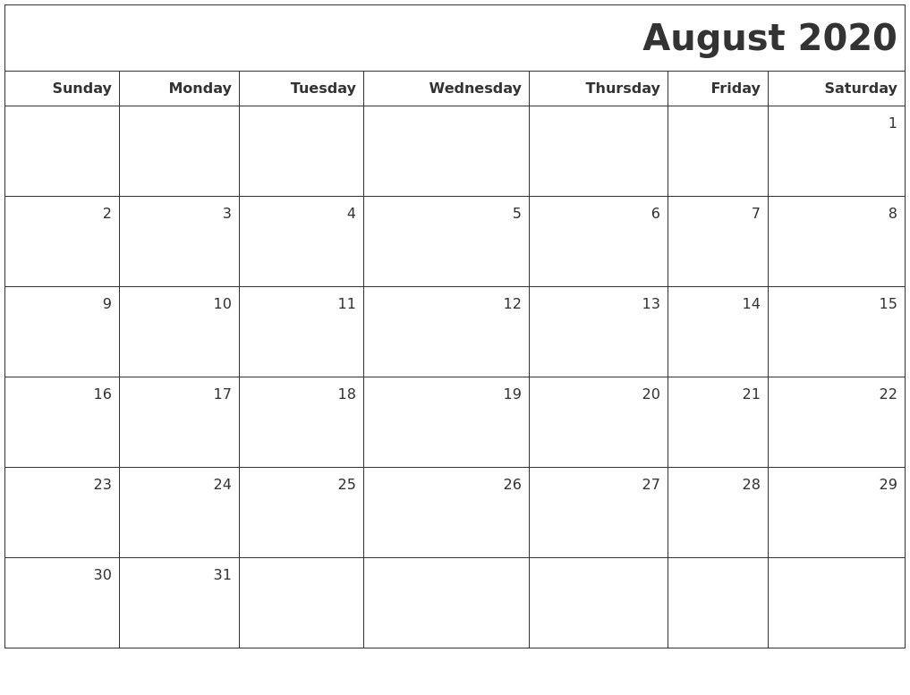 November 2020 Print A Calendar 2020 Calendars Free Printable-July/august Calendar 2020 Monthly