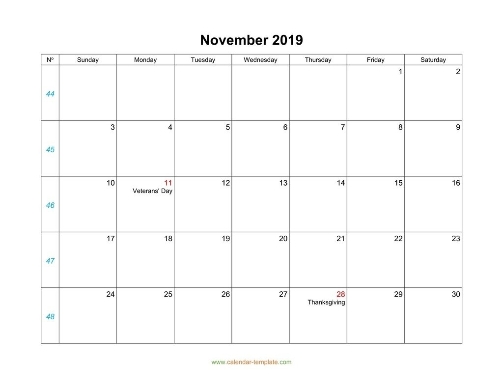 November Calendar 2019 Blank Template-Blank Calendar Template Starting With Monday